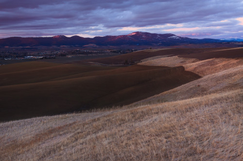Moscow Mountain and the Idaho Palouse at sunset.
