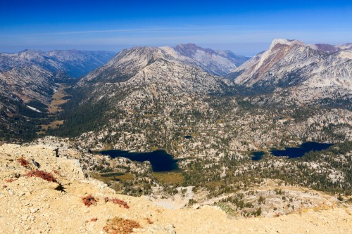 View of the lakes district from the summit of Eagle Cap. Mirror Lake is front and center.