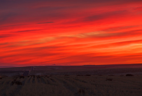 Spectacular sunset on the flat plains of central Washington.