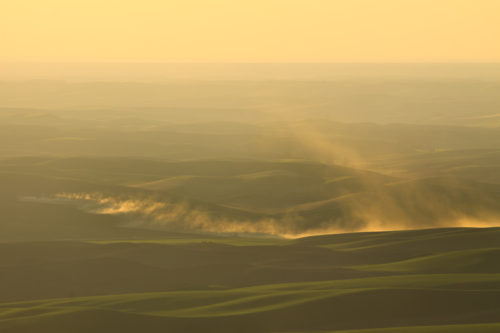 The fading sun captures the dust of farmers tilling their fields.