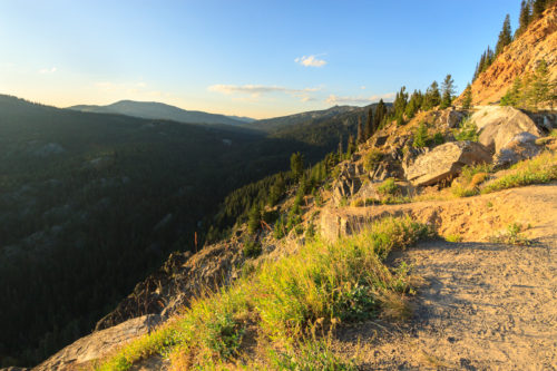 Overlook and view of Goose Creek gorge and Granite Mountain