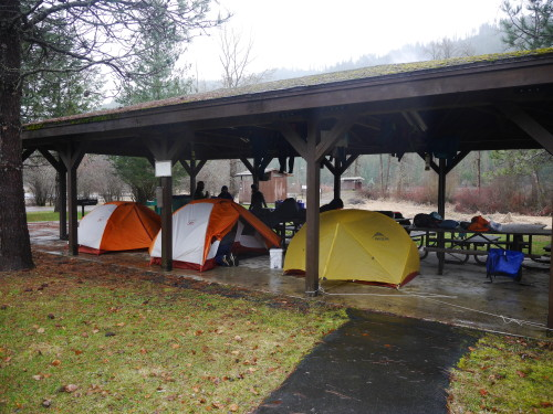 Camping under the picnic shelter at Shadowy St. Joe campground.