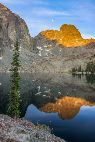 Morning sun on He Devil across from Sheep Lake.